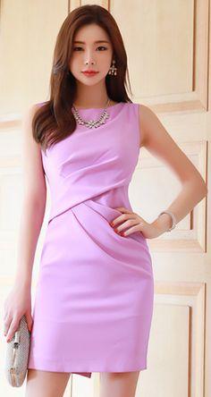StyleOnme_Drape Detail Sleeveless Dress #pink #sleeveless #dress #chic #feminine #koreanfashion #kstyle #kfashion #springtrend #datelook