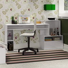 Mesa de Computador/Escrivaninha Max Blanco Textura - Fiasini