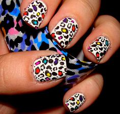 rainbow snow leopard nails