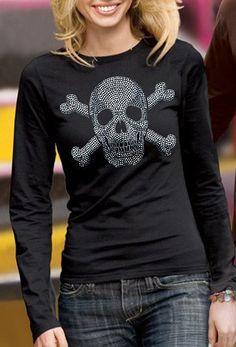 Amazon.com: Skull Rhinestud Long Sleeve Womens Thermal: Clothing