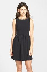 kensie Chain Detail Textured Fit & Flare Dress