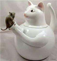 white cat teapot