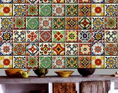 MEXICAN TALAVERA TILE DECAL   O R D E R . P A C K . I N C L U D E S QUANTITY : 22 designs x 2 = 44 tile decals SIZE : You can select the size from right side- size drop down button. In case you need a custom size , write to us, we will make it free of cost <3 COLOR: Mexican color palette INSTALLATION GUIDE    A B O U T Taking the inspiration from Mexican Talavera, we have created a wide range of tiles to mix and match for your kitchen corners or bathroom interior! The color palette ha...