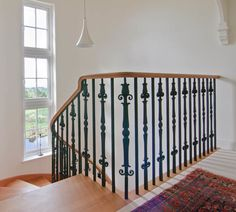 stockwell-ltd. Curved, cut-stringer, american white oak staircase with c. Metal Spindles Staircase, Wrought Iron Stair Railing, Timber Staircase, Oak Stairs, Steel Stairs, Wooden Staircases, Staircase Design, Loft Conversion Stairs, Stairs Cladding