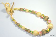 Tota Contemporary Jewelry One Of A Kind Cloisonne & Fabric Beads Necklace  #TotaJewelry