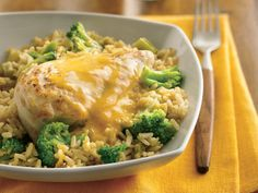 Skillet Chicken Divan (Gluten Free) -In just over half an hour, busy cooks can put dinner on the table. Chicken, broccoli and rice make it a colorful meal-in-one. (Always make sure to use gluten free cheese.  Many brands have fillers that contain gluten.)
