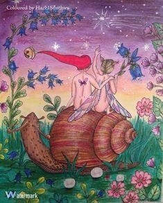 From Carovne Lahodnosti (Magical Delights) by Klara Markova in Prismacolor Premier Pencils, Wink of Stella glitter pen on snail to give it wet/shiny look, FC soft pastels, and silver Luna Jayne glitter gel pen. Love their little bare bottoms, so cute! Lol