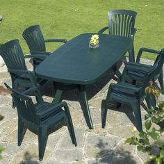 Green Plastic Resin Patio Furniture Set with 6 Chairs