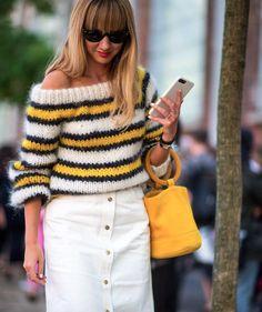 Ganni street style | Lisa Aiken | The Julliard Mohair Off Shoulder Pullover