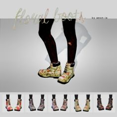 aeon-ia: FLORAL BOOTS. 5 different floral prints. Mesh is by Madlen and not included. Download original here. . download foral boots_ mega / dropbox