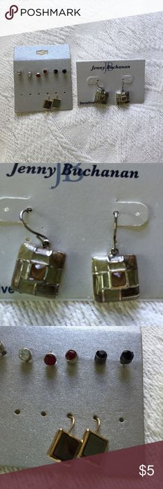 Assorted Earrings Assorted square earrings and studs. 5 pairs. White, red, black studs, green and brown squares. All never worn. Jenny Buchanan Jewelry Earrings