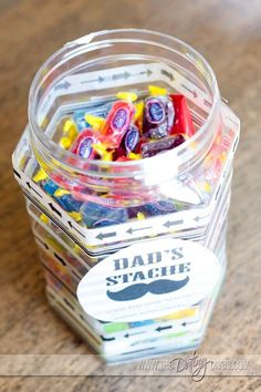 """Create the perfect candy """"stache"""" jar for your husband, dad, or grandpa! The perfect, sweet Father's Day Gift! www.thedatingdivas.com"""