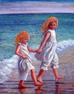 """Walking on the Seashore"" - oil on canvas by Marie Witte Vermont, The Sound Of Waves, Seascape Paintings, Beach Paintings, Prophetic Art, Beach Art, White Art, Beautiful Paintings, Artist At Work"