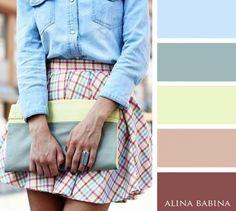 ways to wear denim shirt Colour Wheel Combinations, Color Combinations For Clothes, Color Combos, Pantone Colour Palettes, Pantone Color, Fashion Colours, Colorful Fashion, Color Pairing, Color Balance