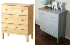 Delighted Momma: DIY Ikea Tarva Dresser Hack - maybe this is a better option for the bedroom.