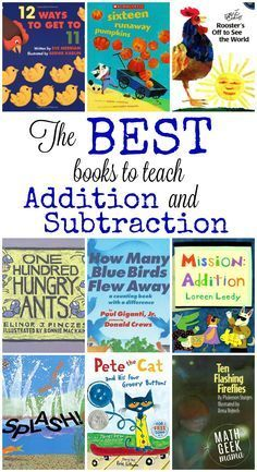 This huge list includes all the best books to teach addition and subtraction, as well as free resources to go along with them! Maths Guidés, Math Classroom, Kindergarten Math, Fun Math, Math Games, Teaching Math, Math Activities, Math Literacy, Math Math