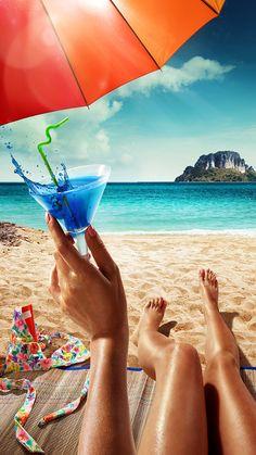 ↑↑TAP AND GET THE FREE APP! Art Creative Sea Water Summer Ocean Islands Beach Girl Coctail Sky Clouds HD iPhone 6 Wallpaper