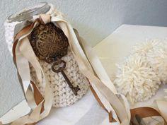 Primitive French Altered Jar  Crochet Cozy  by VintageMarketPlace, $26.00