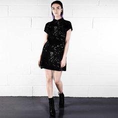 Astro Galaxy korte jurk met kraag zwart