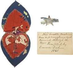 """Civil War Housewife and Silver ID/Corps Badge, of Albert Vaughan, New York Inf. Heart shaped 2 X 3 ¼"""" foldi. on Nov 2008 Vintage Sewing Notions, Vintage Sewing Machines, Water Fairy, Needle Book, Needle Case, Tatting Patterns, Patriotic Decorations, Wool Applique, Sewing Accessories"""