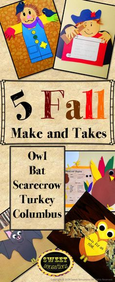 A HUGE saving! Each 'Make-and-Take' usually retails for $4.00 each. You are getting 5 for $15 saving you 25%! This fall pack contains templates and step by step directions to make: owls bats scarecrows a turkey glyph Christopher Columbus Suitable for K-5, little hands will need help cutting some of the smaller pieces.