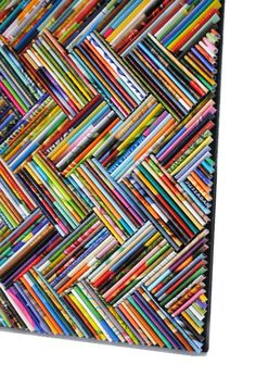 colorful herringbone wall art made from recycled magazines blue green red purple pink yellow orange detail modern colorful bright Recycled Magazine Crafts, Recycled Paper Crafts, Recycled Art Projects, Recycled Magazines, Newspaper Crafts, Old Magazines, Recycled Furniture, Handmade Furniture, Rolled Magazine Art