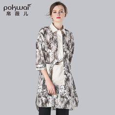 Pokwai Long Casual Linen Shirts Women Tops 2017 New Brand Quality Button Blouse Stand Collar Undies Overshirt Print Ladies Top