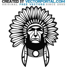 Indian chief graphics vector - Free vector image in AI and EPS format. Red Indian Tattoo, Indian Skull, Indian Chief Tattoo, Native American Tattoos, Native American Symbols, Cherokees, Arte Tribal, American Indian Art, Scroll Saw Patterns