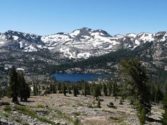 Middle Velma Lake from Phipps Peak in the Desolation Wilderness area in El Dorado National Forest, in El Dorado County, California. It is located along the crest of the Sierra Nevada mountain range, just southwest of Lake Tahoe