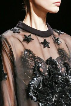 Sheer sweatshirt with sequin embellished applique; fashion details // Givenchy Fall 2013