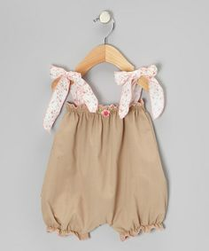 Another great find on #zulily! Beige Rosette Bubble Romper - Infant by Victoria Kids #zulilyfinds