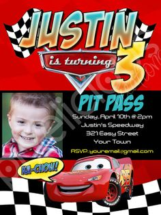Disney Cars Invite - but I would class this up a bit Car Themed Parties, Cars Birthday Parties, Birthday Fun, Birthday Ideas, Disney Cars Party, Disney Cars Birthday, Cars Invitation, Invite, Race Car Party