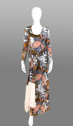 Tricosa Paris abstract maxi gown with fringe belt 1970s
