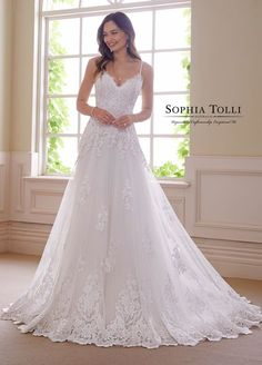 Sophia Tolli Amethyst - Charm and beguile in Amethyst, a sleeveless A-line gown crafted from Athena tulle and organza richly adorned with hand-beaded lace appliqués that offers beaded spaghetti Dream Wedding Dresses, Bridal Dresses, Wedding Gowns, Drop Waist Wedding Dress, Wedding Skirt, Wedding Ceremony, Applique Wedding Dress, Classic Wedding Dress, Lace Weddings