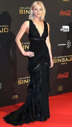 Jennifer Lawrence in a black Ralph Lauren dress