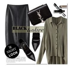 """Night Out"" by genuine-people ❤ liked on Polyvore featuring Yves Saint Laurent, black, GREEN and olive"