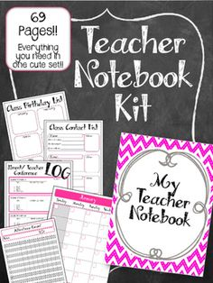 ADORABLE & Useful! I Use this system in an Arc Notebook.  This Teacher Notebook Kit has everything you need to make a complete PINK AND GREY teachers notebook! EVERYTHING you need grade book, lesson plan, contact list. And more!! All in one cute notebook.   I use mine in an Arc Notebook system (from staples)...