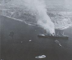 1961 Ship called the Dominator aground off Palos Verdes California Lunada Bay. Unknown Photographer.
