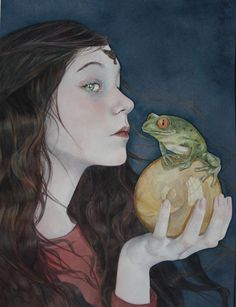 As soon as the young princess saw her ball, she ran to pick it up; and she was so overjoyed to have it in her hand again, that she never thought of the frog, but ran home with it as fast as she could. Frog prince -  Teresa Janellen