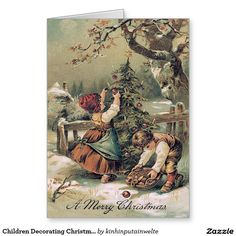 Children Decorating Christmas Tree Snow Greeting Card