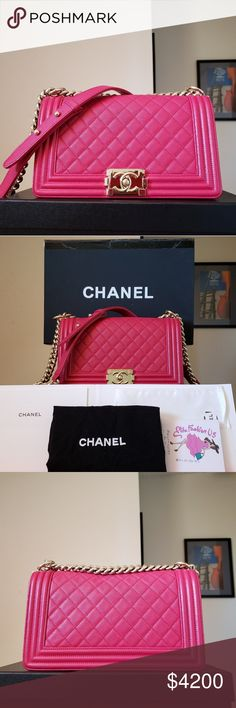 58e97306ca3c Chanel fuschia caviar gold HW medium boy bag Good preowned. Card is  missing. Scratches