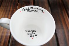 This unique proposal coffee mug is the perfect way to propose to your husband or wife to be! We make these mugs as shown in the photo, and we make them for a right handed drinker. Mug is blank on the