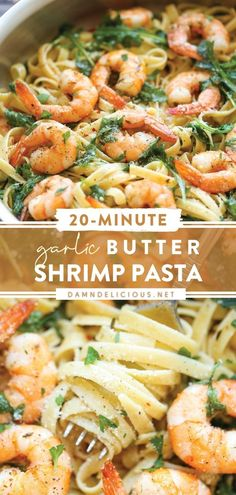 Whip up this comfort food for any kind of weather! Tossed with garlic butter shrimp and some fresh greens, this pasta dish is incredibly hearty and flavorful. Plus, it comes together in just 20 minutes from start to finish! Save this quick and easy dinner recipe!