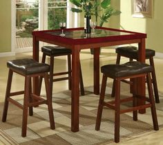 With its beautiful contemporary style and counter height, our 5-Piece Faux Marble-Top Counter-Height Pub/Dining Table Set is a must-have element for your modern home. This set features a table with faux marble top and four modern black bonded leather stools. Constructed of solid hardwood, it has saddle-shaped seat and lush cherry finish legs. The