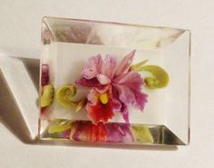 Vtg 40's Era Reverse Carved Flower Hand Painted Lucite Acrylic Pin Brooch | eBay
