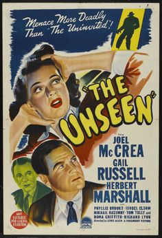 """One year after making the classic """"haunted house"""" film THE UNINVITED director Lewis Allen and leading lady Gail Russell reunited f. Old Movie Posters, Classic Movie Posters, Classic Horror Movies, Horror Movie Posters, Cinema Posters, Movie Poster Art, Horror Films, Fiction Movies, Sci Fi Movies"""