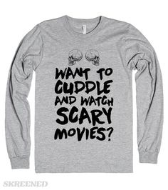 Who doesn't want to cuddle and watch scary movies, make sure this shirt is in your life for those moments. It's also a great shirt to wear while you're marathoning your favorite scary movies. It's also the perfect gift for your significant other who loves horror movies!  #halloween