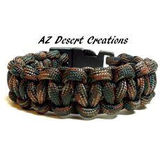 Woodland Camo Survival Bracelet Paracord Bracelet Camping Hunting | DesertCreations - Jewelry on ArtFire