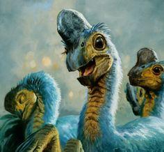 Big-eyed Oviraptors  James Gurney, I think.