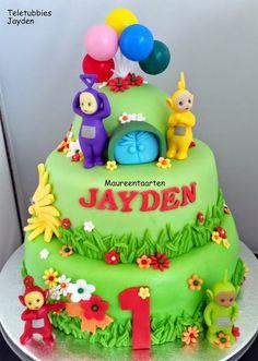 Kindertaarten | Maureentaarten.nl Teletubbies Birthday Cake, Teletubbies Cake, Happy Birthday Kind, Leo Birthday, Birthday Kids, 1st Birthday Cakes, First Birthday Parties, First Birthdays, Character Cakes